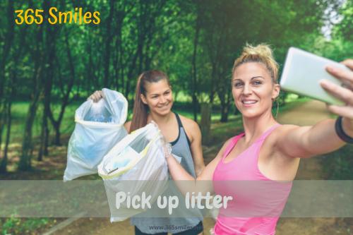 Pick up litter and sort it out