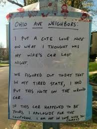 leaving a love letter on the wrong car
