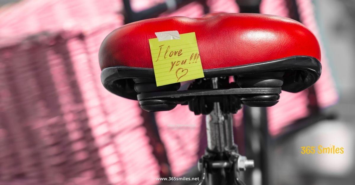 a Love note on children's bike